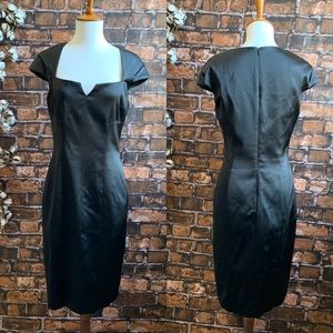 David Meister Black Cocktail Dress with Cap Sleeve